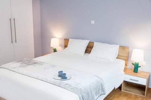 Postel nebo postele na pokoji v ubytování Stylish and Bright Apartment in Athens Centre!
