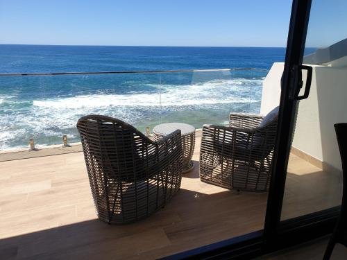 A balcony or terrace at Ocean Front Motel