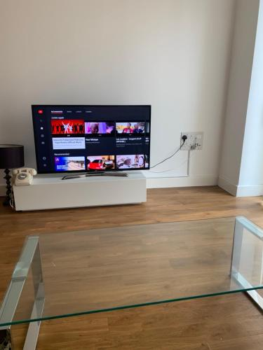 A television and/or entertainment center at lovely 2 bedroom apartment
