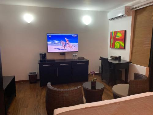 A television and/or entertainment center at D Villas