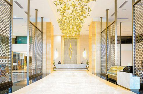 The lobby or reception area at Gumaya Tower Hotel
