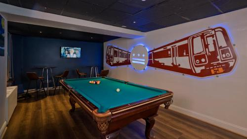 A pool table at HI Washington, DC Hostel