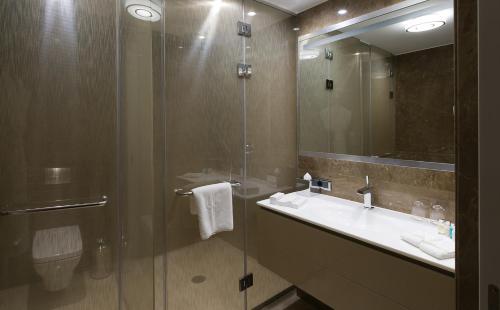 A bathroom at The Grand Tarabya Hotel