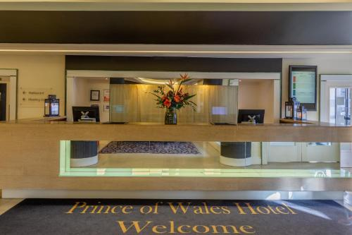 The lobby or reception area at Prince of Wales Hotel