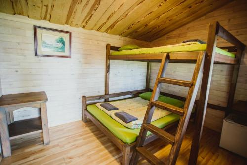A bunk bed or bunk beds in a room at Kempings Usmas Meķi