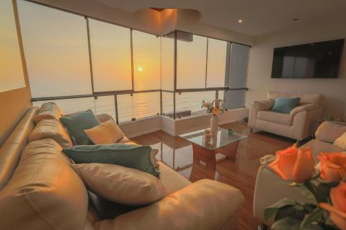 A seating area at Oceanfront Penthouse in Miraflores