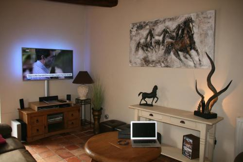 A television and/or entertainment center at Vakantiehuis Bretagne