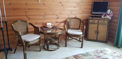 A seating area at Pavlovskoe Podvorye Guest House with Russian Steam Bath