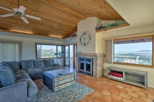 A seating area at Prescott House with Granite Mtn and Thumb Butte Views!