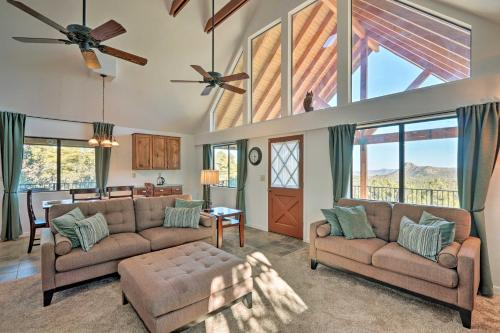 A seating area at Pet-Friendly Prescott Home with Game Room and Mtn Views