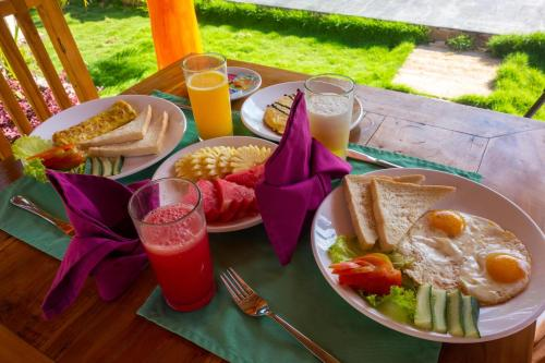 Breakfast options available to guests at Sawit Garden Cottages