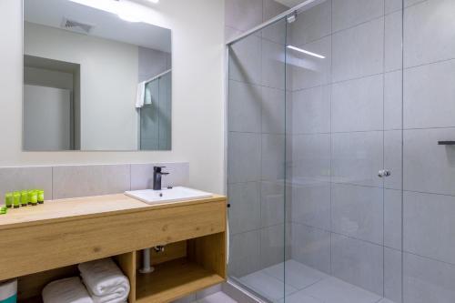 A bathroom at Nightcap at Springwood Hotel