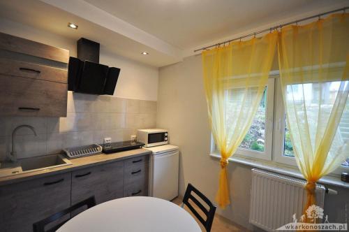 A kitchen or kitchenette at Waldi Apartament Cieplice