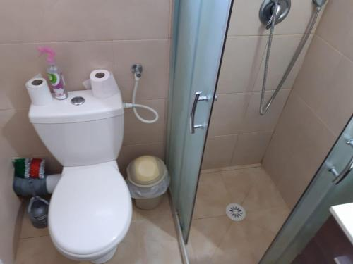 A bathroom at SLV Place