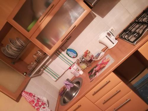 A kitchen or kitchenette at Apartment in City Center on Krasnoarmeyskaya