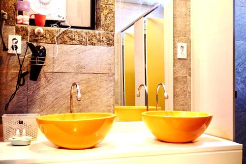 A bathroom at Capsule Hotel M Seoul