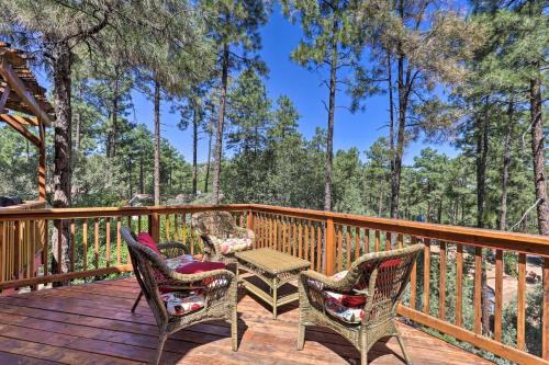 A balcony or terrace at Prescott Cabin with Fire Pit about 10 Min To Downtown