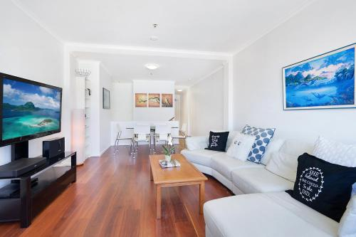 A seating area at Perfect Pyrmont penthouse pad