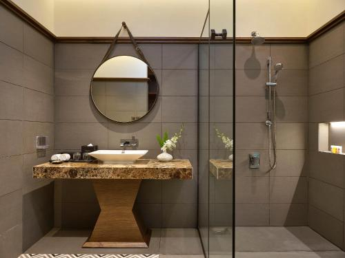 A bathroom at Senna Hue Hotel