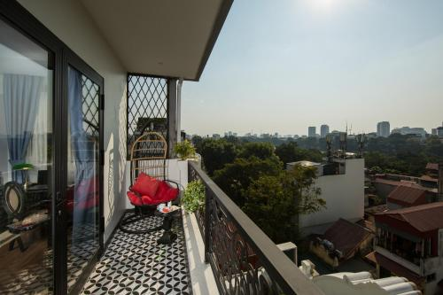 A balcony or terrace at Hanoi Media Hotel & Spa