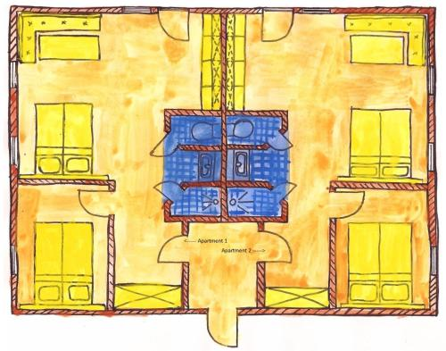 The floor plan of Hotel Garni Sössaarep's Hüs