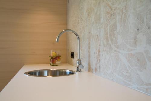 Küche/Küchenzeile in der Unterkunft Gartenstudio Waldblick