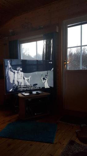 Telewizja i/lub zestaw kina domowego w obiekcie Fritidsbolig ca 20 min fra Tromsø Sentrum