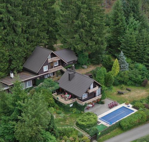Letecký snímek ubytování Chata Jezevec