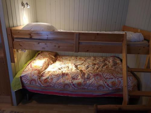 A bunk bed or bunk beds in a room at Sandhornøy Camping