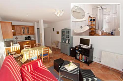 Ein Sitzbereich in der Unterkunft Ferienwohnung in Sassnitz Nähe Weltnaturerbe