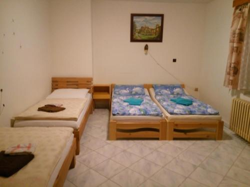 A bed or beds in a room at Penzion Aqua