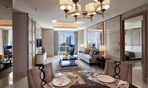 A seating area at The Residences of The Ritz-Carlton Jakarta Pacific Place