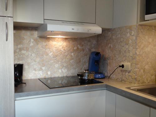 Küche/Küchenzeile in der Unterkunft Studio Ross zonnig en gezellig en heel dicht bij zee