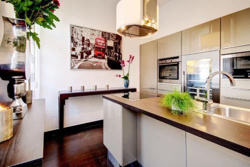 A kitchen or kitchenette at Central Stylish Apartments