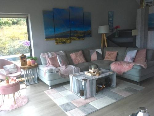 A seating area at Apartment looking over Lough Gill