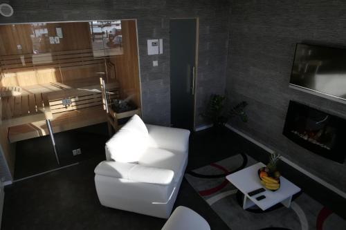 Ein Sitzbereich in der Unterkunft Hafenblick