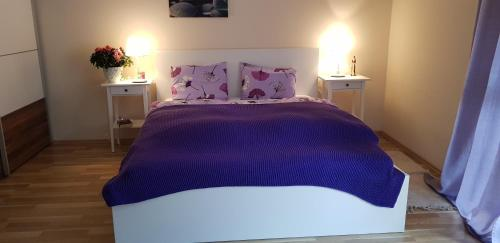 A bed or beds in a room at Alpe-Adria Apartments