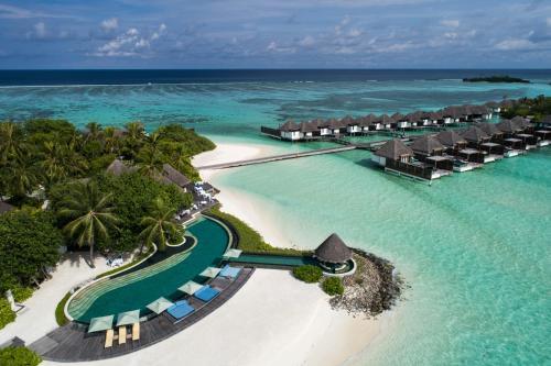 A bird's-eye view of Four Seasons Resort Maldives at Kuda Huraa