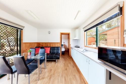 A kitchen or kitchenette at Torquay Foreshore Caravan Park