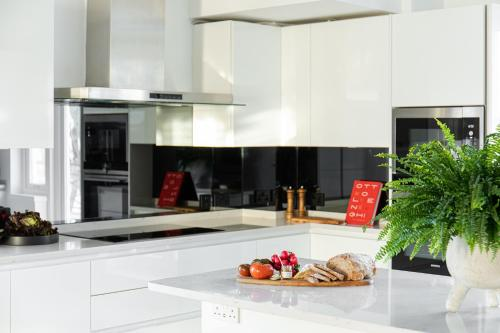A kitchen or kitchenette at Europa House Apartments