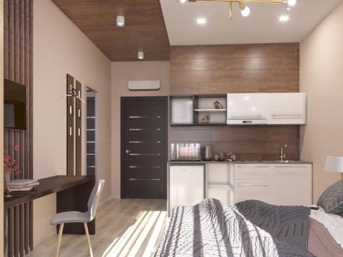 A kitchen or kitchenette at Ahotels Design Style Apart on Sovetskaya