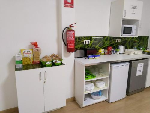 A kitchen or kitchenette at Grelo Hostel