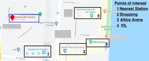 The floor plan of Oriente DNA Studios