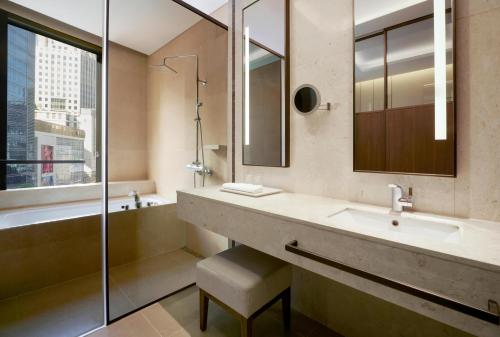 A bathroom at Aloft Seoul Myeongdong