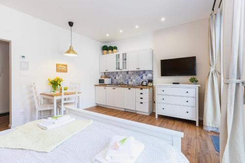 Televízia a/alebo spoločenská miestnosť v ubytovaní Apartmán Hory - V srdci Tatier