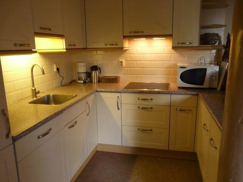 Een keuken of kitchenette bij B&B De Galeriet Giethoorn