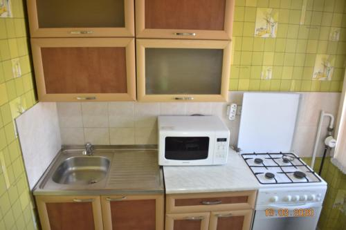 A kitchen or kitchenette at 1 комнатные апартаменты на Ауэзова 236