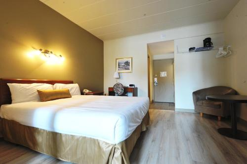 A bed or beds in a room at Hotel Le Voyageur