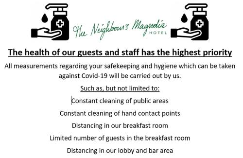 A certificate, award, sign, or other document on display at Hotel The Neighbour's Magnolia