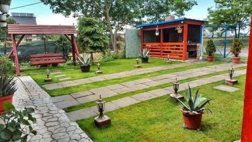 A garden outside Casa Buşcu